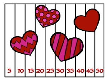 February Skip Counting Puzzles