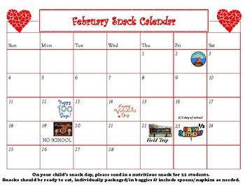 February Snack Calendar-editable