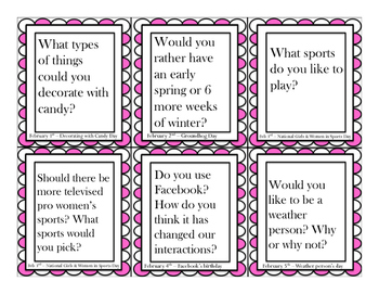 February Social Skills Conversation Questions/Writing Prompt