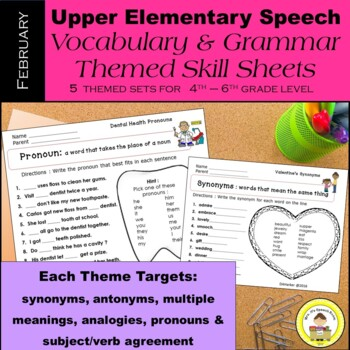 February Speech Therapy Upper Elementary Vocab & Grammar Worksheets