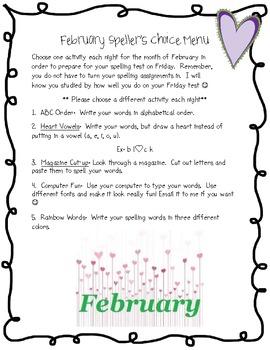 February Spellers Choice Menu