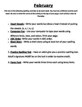 February Spelling Activities