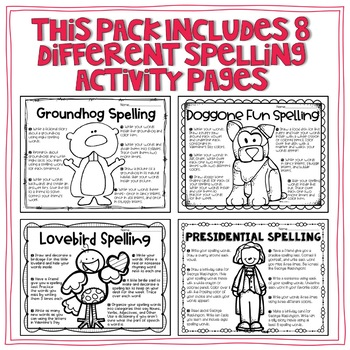 February Spelling Choice Activities