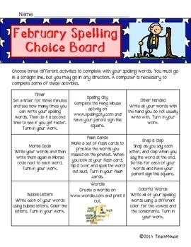 February Spelling Choice Board