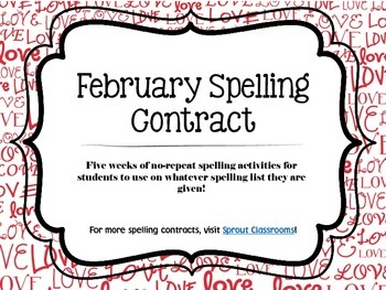 February Spelling Contracts-5 Weeks