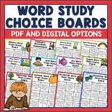 Word Study Choice Boards