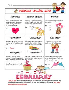 February Spelling Menu