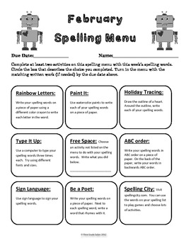 February Spelling Menu - 9 ways for students to learn their spelling words