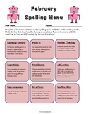 February Spelling Menu - 9 ways for students to learn thei