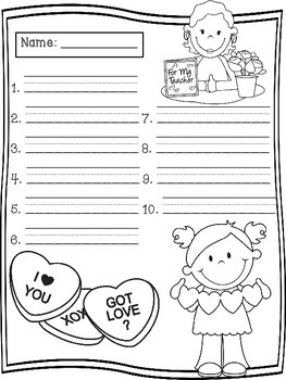 February Spelling Test Templates