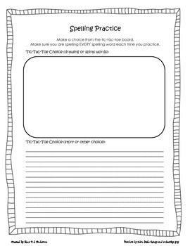 February Spelling Tic-Tac-Toe Homework Choices