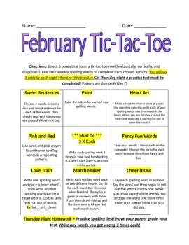February Spelling Tic-Tac Toe Packet