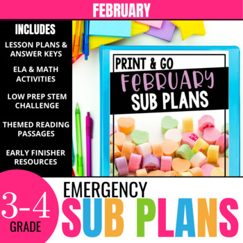 February Sub Plans for 3rd-4th Grade: Ready-to-go lesson plans & activities