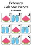 February / Summer Calendar Pieces - For Calendar Math & Numeracy Wall