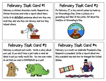 February Task Cards