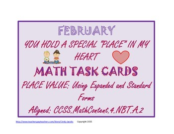 February Task Cards February Math Activity Valentine's Day