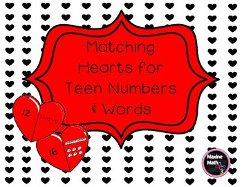 February Matching Hearts for Teen Numbers & Words