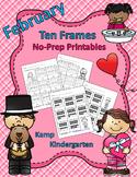 February Ten Frames No Prep Printables