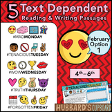 February Text Dependent Reading - Text Dependent Writing Prompts (Option 1)