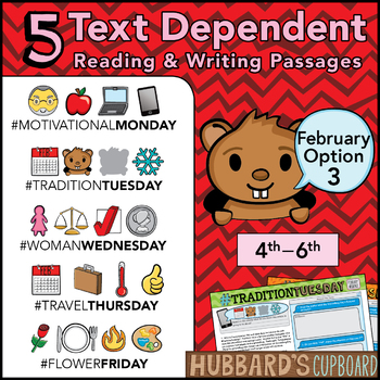 February Text Dependent Reading - Text Dependent Writing Prompts (Option 3)
