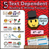 February Text Dependent Reading - Text Dependent Writing Prompts (Option 4)