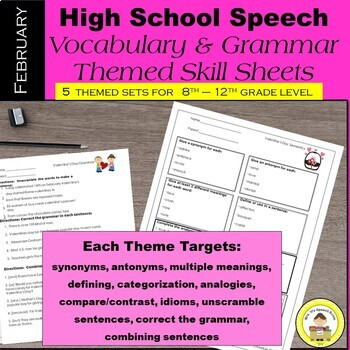 February Speech Therapy Theme-Based Vocabulary and Grammar Worksheets