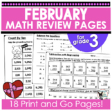 Monthly Math Skills February Themed Print and Go