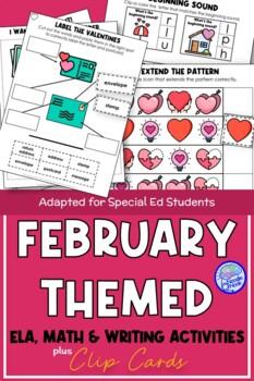 February Themed Adapted Unit for Autism or Early Elem. (Math, ELA & Writing)