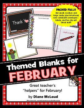 February-Themed Blank Cards,Letterhead, Clip Art and Forms - a packed file!!