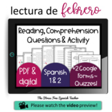 February Themed CI Comprehensible Input Reading Comprehension and Activity