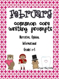 February Themed Common Core Writing Prompts {Grades 1-5}
