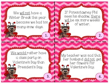 February Themed Contractions Task Cards