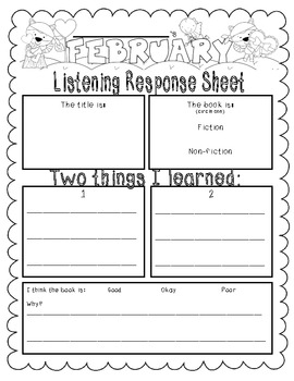 February-Themed {Differentiated} Listen to Reading Response Sheets--Full Version