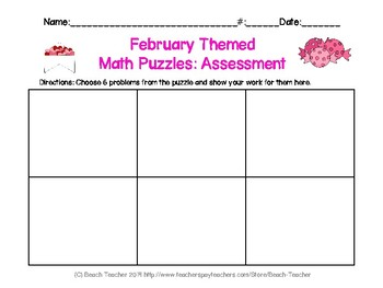 February Themed Differentiated Math Puzzles