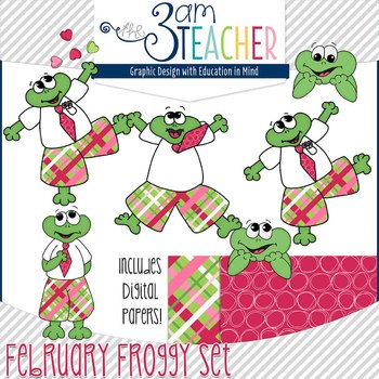 February Themed Froggy Clipart Set