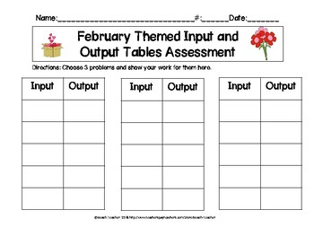 February Themed Input and Output Tables