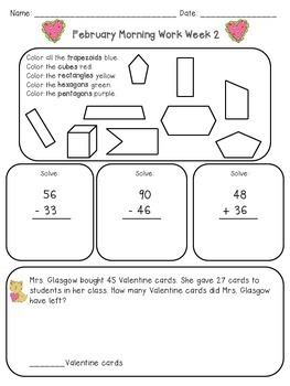 February Themed Math Morning Work for 2nd Grade