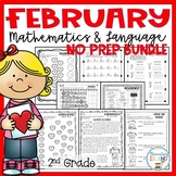 February Themed NO PREP Math AND Language Packet