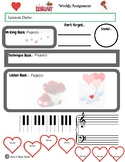 February Themed Piano Lesson Assignment Sheet