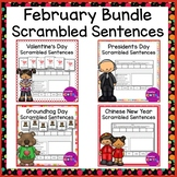 February Themed Writing Scrambled Sentence Cards and Worksheets Bundle