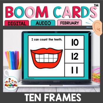 February Themed Ten Frame Digital Task Cards Boom