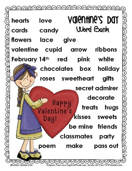 February-Themed Word Banks and Writing Paper