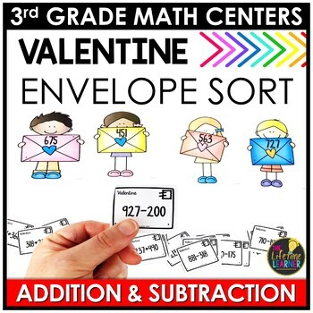Add and Subtract February Math Center