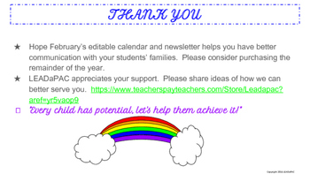 February Traditional School Calendar and Newsletter