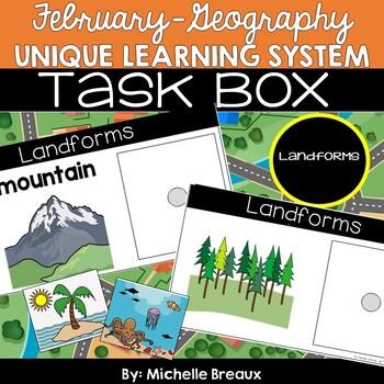 February Unique Learning System Landform Task Cards & Worksheets