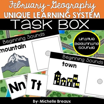 February Unique Learning System Task Box Beginning Sounds & Letter Worksheets