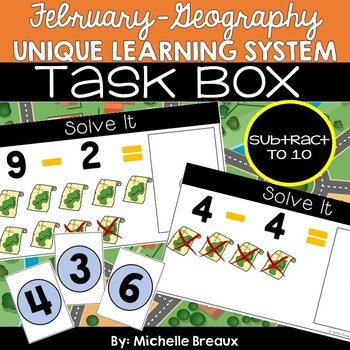 February Unique Learning System Task Box- Subtraction to 10 (SPED, Autism)