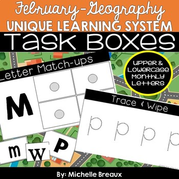 February Unique Learning System Task Box- Unit Letter Match & Letter Wheels