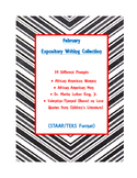 February Valentine/Black History Expository Writing Bundle 39 Prompts 3rd-5th
