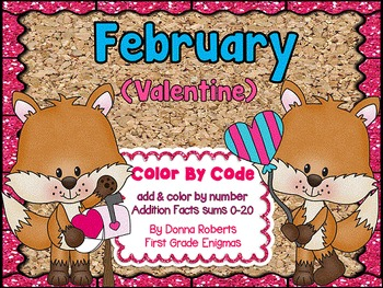 February (Valentine) Color By Code Addition sums 0-20
